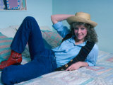 Actress Kate Capshaw Reclining on Bed