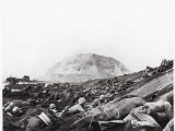 US Marines Advance Up Black Sand Beaches of Iwo Jima to Engage Japanese Troops