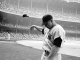 Yankee Mickey Mantle Flinging His Batting Helmet Away in Disgust During Bad Day at Bat