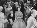 Queen Elizabeth with Prince Charles and Elizabeth Ii at Princess Margaret's Wedding