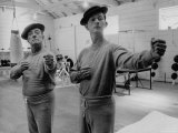 Buster Keaton and Donald O'Connor Holding Up 'Dukes', Practicing for Movie Based on Keaton's Life