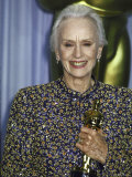 Actress Jessica Tandy Holding Her Oscar in Press Room at Academy Awards