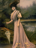 Woman Modeling Feather hat, Parasol and Pink Toilette D'Apres Midi Designed by Bourniche