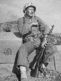 Actor John Wayne as Marine Sgt. Platoon Leader in Scene From the Movie 