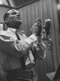Singer Harry Belafonte Performing at a Recording Session