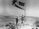 Pair of American Marines Survey View from Atop Mt. Suribachi Two Days After the Famous Flag Raising