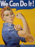 WWII Patriotic 'We Can Do It' Poster by J. Howard Miller Featuring Woman Factory Workers Premium Photographic Print