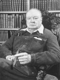 Winston Churchill Holding Cigar, Seated in Study at Chartwell Wearing Zippered Jumpsuit