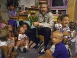 "Jim Henson with Muppet, Kids at Jim Henson Productions Townhouse, Promote ""Reading is Fundamental"""