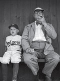 Brooklyn Dodgers General Manager Branch Rickey Sitting with Grandson Watching Spring Training