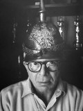 Director Billy Wilder in His Hollywood Office Wearing German Helmet
