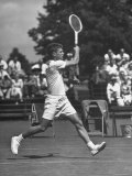 Tennis Player Herbie Flam Swinging the Racket in Davis Cup Match