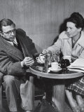 Philosopher Writer Jean Paul Sartre and Simone de Beauvoir Taking Tea Together Premium Photographic Print