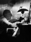 Composer Igor Stravinsky Working at a Piano in an Empty Dance Hall in Venice