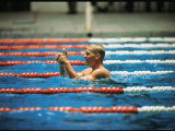 Don Schollander Gives Two Thumbs Up After Swimming Anchor on Relay Team at Summer Olympics