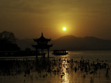 Westlake with Chineese Pavillon During Sunset, China