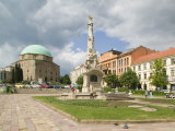 Mosque and Trinity Column in Szechenyi ter Square, Pecs, Hungary
