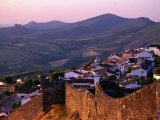 Sunset Over Village, with Fortified Wall in Foreground, Marvao, Portugal
