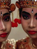 Twin Sisters in Legong Costumes Make a Perfect Matched Pair, Indonesia