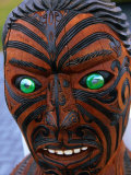 Muruika, a Modern Maori Carving with Glowing Green Eyes, Rotorua, New Zealand