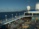 Overview of Pool Deck of a Cruise Ship on the Caribbean Sea