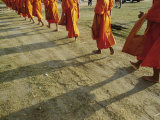 Buddhist Monks Walk Single File Down a Dirt Road