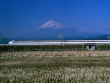 View of One of Japans Bullet Trains Speeding Through the Countryside