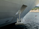 Close View of a Giant Anchor Hanging from the Side of a Cruise Ship