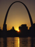Silhouette at Twilight of the Gateway Arch and Surrounding Skyline