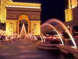 Paris Hotel and Casino Fountains in Front of L'Arc de Triumph Replica, Las Vegas, Nevada, USA