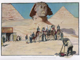 Tourists are Photographed in Front of the Sphinx, Some are on Camels