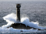 Longships Lighthouse in Huge Swells at Lands End, UK