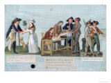 Woman Promising to Marry Suitor After War, Citizens Donating Clothes, Guards Near Cannon, c.1792