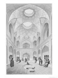 Adji Seid Hussein Bazaar, in Kashan, Voyage Pittoresque of Persia, Engraved by Louis Felix Penel