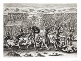 Outina Defeats Patanou with Aid of French, Florida, 1564, Brevis NarratioEngraved Theodore de Bry