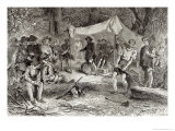 First Day at Jamestown, 1607, The Romance and Tragedy of Pioneer Life Mason, 1883