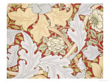 Acanthus Leaves, Wild Rose on Crimson Background, William, Morris