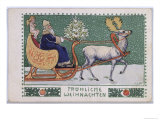 Postcard Depicting Father Christmas on His Sleigh, c.1910