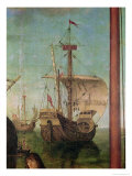The Meeting and Departure of the Betrothed, from the St. Ursula Cycle, Detail of a Ship, 1490-96