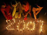 Pakistani Christian Girls Create the Digits of 2007 with Lit Candles