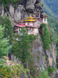 Taktsang (Tiger's Nest) Dzong Perched on Edge of Steep Cliff, Paro Valley, Bhutan