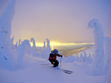 Skier in Snowghosts at Big Mountain Resort in Whitefish, Montana, USA