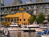 Yachts Docked Near Bridges Restaurant with Granville Island Bridge in Background, Vancouver, Canada