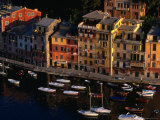 Boats in Harbour with Buildings, Portofino, Liguria, Italy