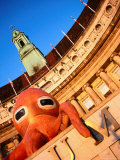 Orange Octopus Over the Entrance to the Aquarium, County Hall, London, United Kingdom