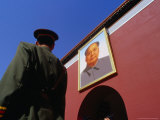 A Soldier on Guard in Front of the Gate of Heavenly Peace in Tiananmen Square, Beijing, China,
