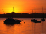 Sunset Over Boats Moored in Russell Harbour, New Zealand