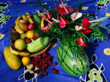 Flowers and Fruits on a Cloth, Castle Comfort, Dominica