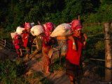 Akha Women Carrying Shopping Home, Muang Sing, Laos