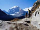 Hikers on Plain of Six Glaciers Trail, Banff National Park, Canada